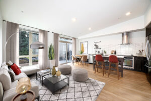 Example living and kitchen space at The Carter